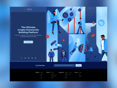 Crypto Community Landing Page illustration crypto app design crypto currency typography layout character design bitcoin landing page interaction design uiux web design