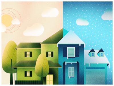 Under Conditions noise illustration app design color house season summer winter landing page illustrator web design
