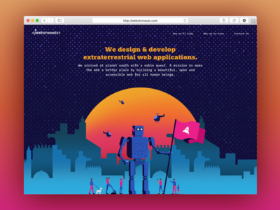 Webstronauts.co | Landing Page Redesign illustration robot creative agency digital agency typography layout character design spaced landing page interaction design uiux web design