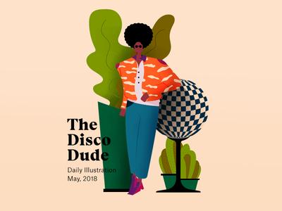 The Disco Dude editorial disco uiux ui web design art mascot character character design draw color illustration