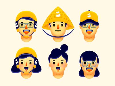 Faces @be mobile design logo vector character art landing page color interaction design uiux illustration