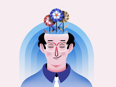 Peaceful Mind branding character vector landing page art character design color interaction design illustration web design