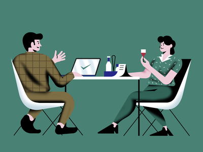 Business Lunch branding ui art people concept vector landing page character design color web design illustration