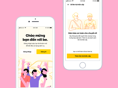 be Ride Hailing | App Concept mobile design character layout character design color interaction design uiux illustration typography web design