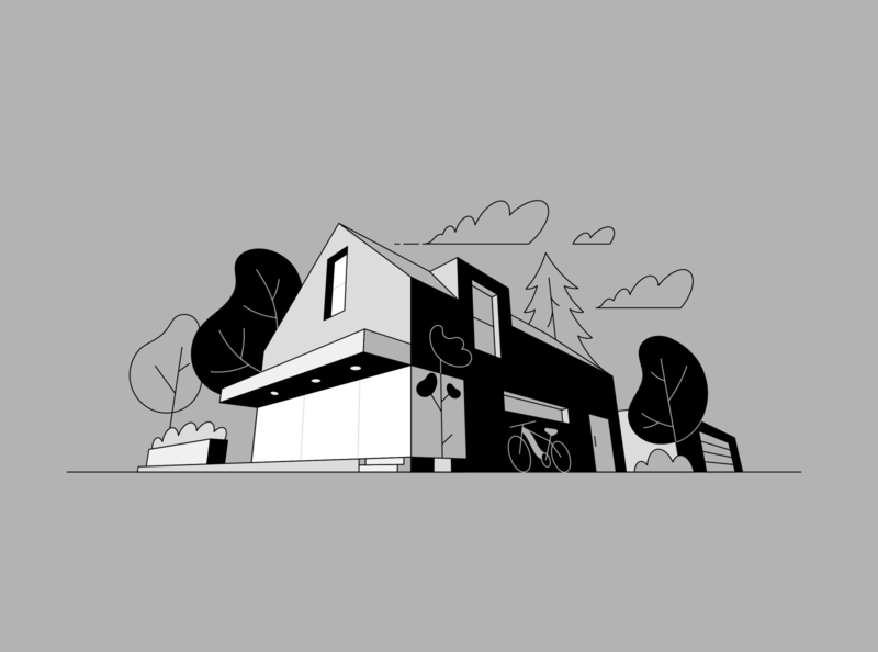 Buildings linart line 3d simple bold minimalist perspective buildings illustration vector