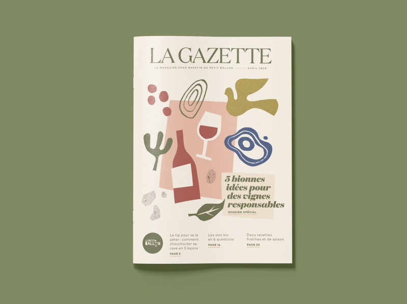 La Gazette April magazine cover graphic design bold simple minimalist handmade organic illustration