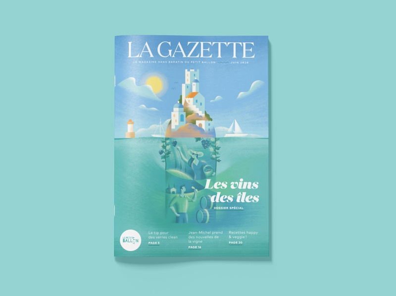 La Gazette June island wine magazine illustration brush texture digital painting editorial illustration
