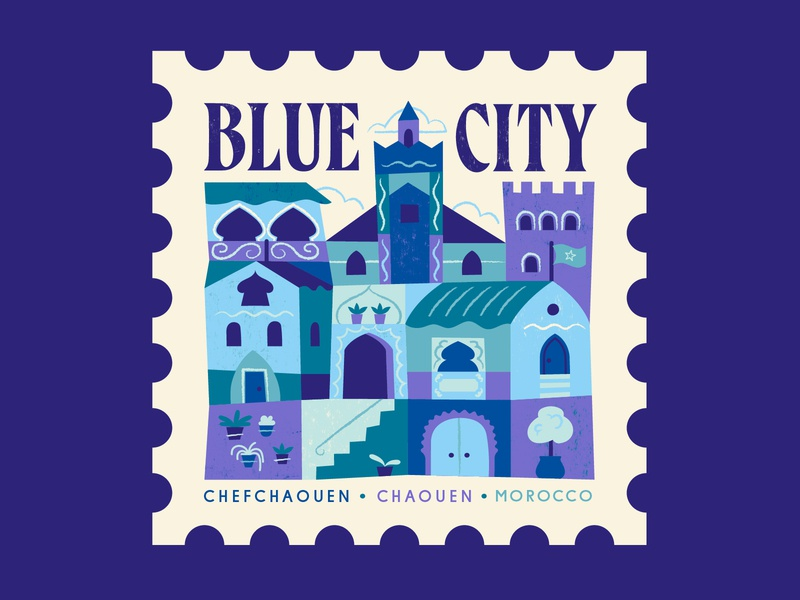 TownSquares : Blue City - Chefchaouen morocco city stamp design magazine editorial spot illustration geometric illustration vector