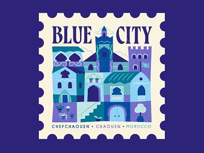 TownSquares : Blue City - Chefchaouen morocco city stamp design magazine editorial spot illustration geometric illustration vector
