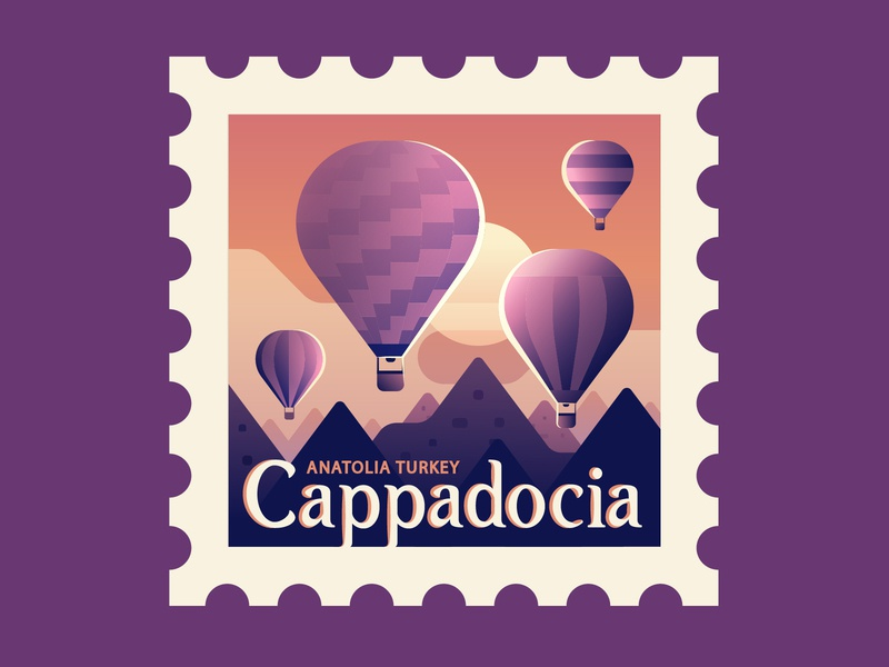 TownSquares : Cappadocia travel hot air balloon cappadocia turkey stamp magazine editorial spot illustration geometric illustration vector
