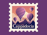 TownSquares : Cappadocia travel hot air balloon cappadocia turkey stamp magazine editorial spot illustration geometric illustration vector