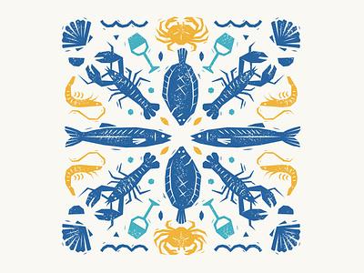 La Gazette July graphic design magazine cover mediterranean seafood woodblock texture editorial illustration vector