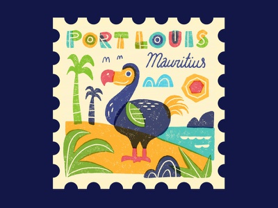 TownSquares: Port Louis graphic spot illustration postage stamp travel texture hand drawn illustration