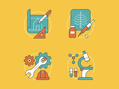 Industry Icons digital illustration illustration illustrator brand identity branding xray construction science medical industry business vector icon set icon design iconography icon