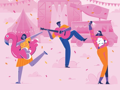 La Gazette May flamingo character design character food truck band festival rose wine rose texture brushes texture vector illustration illustrator wine magazine illustration magazine cover editorial art editorial illustration editorial