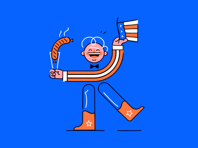Happy Fourth of July! hot dog independence day 4th of july america usa character design spot illustration line character illustration vector