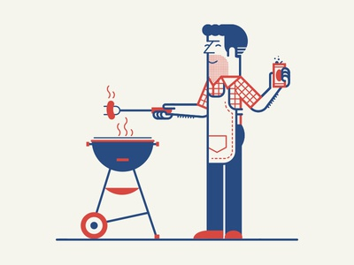 Red, White & Blue barbecue  character beer bbq holiday memorial america usa vintage illustration line texture vector