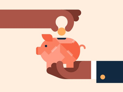 Don't break the bank hand coin break bank piggy animation illustration vector