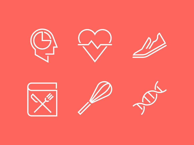 Health Icon Pack app illustration line geometric vector icons recipes cooking dna workout fitness health