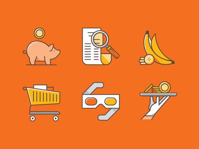 Woolworths Icons save trolley glasses groceries store shopping banana piggy bank shadow line vector icon