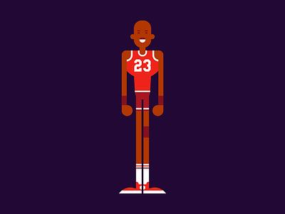 MJ flat vector illustration character jordan michael basketball