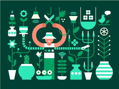Digital Greenhouse landscaping magazine geometric green plants greenhouse soda editorial vector illustration