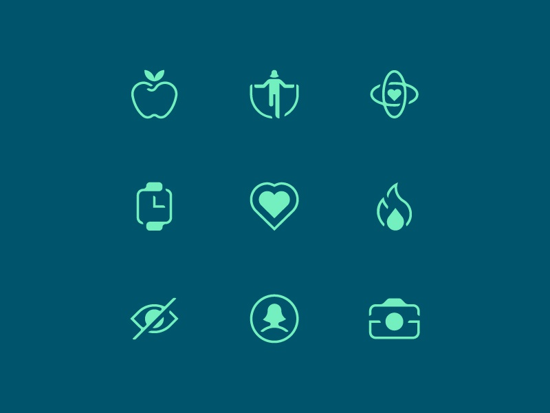 Health App Icons negative space app line monochrome healthy calories heart camera health fitness illustration icons