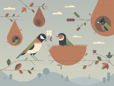 Empathy by Design geometric delicate branches leaves vector flatvector nest birds editorial illustration