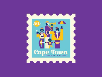 Cape Town music south africa cape town africa spot illustration illustration travel stamp vector
