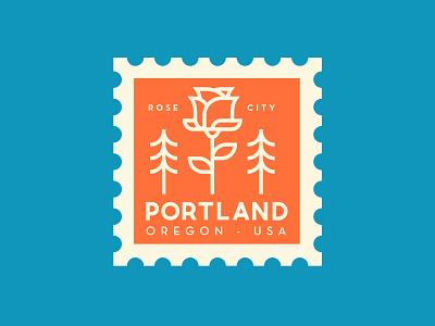 Portland america oregon rose portland spot illustration illustration travel stamp vector