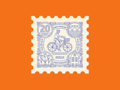 Amsterdam netherlands delft tulip bicycle dutch amsterdam line spot illustration illustration travel stamp vector