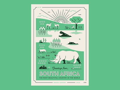 Greetings from South Africa hippo rhino south africa safari wildlife animals africa illustration vector postcard