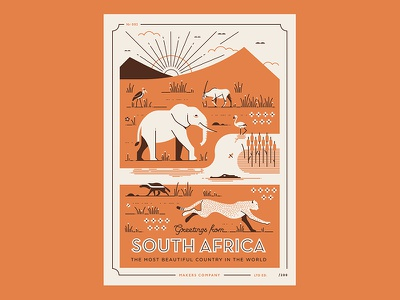 Greetings from South Africa 2 cheetah elephant south africa safari wildlife animals africa illustration vector postcard