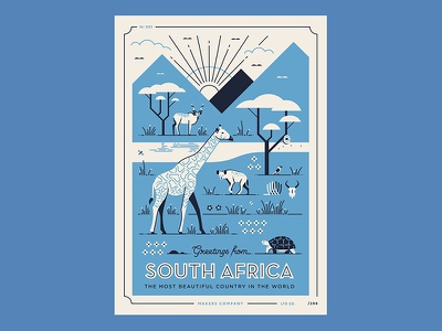 Greetings from South Africa 3 buck giraffe south africa safari wildlife animals africa illustration vector postcard
