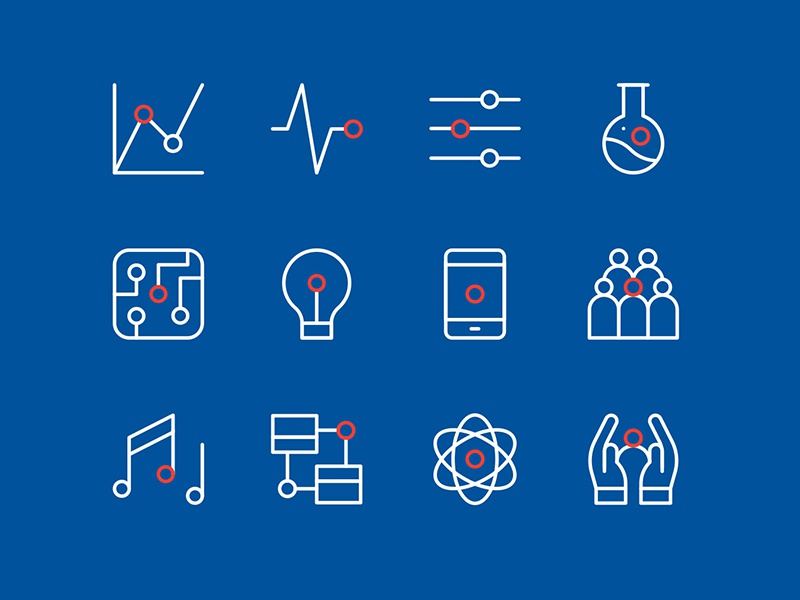 UOW Icons phone australia light music education university science circle line icon line vector icons