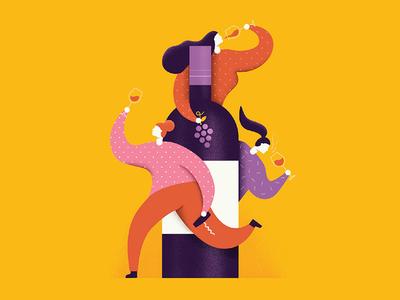 Women Of Wine female editorial magazine grapes wine vector illustration women