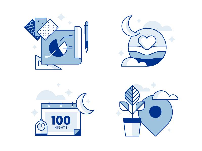 Amerisleep Icons bed sleep pictogram iconography illustration dynamo ux ui app line vector icons