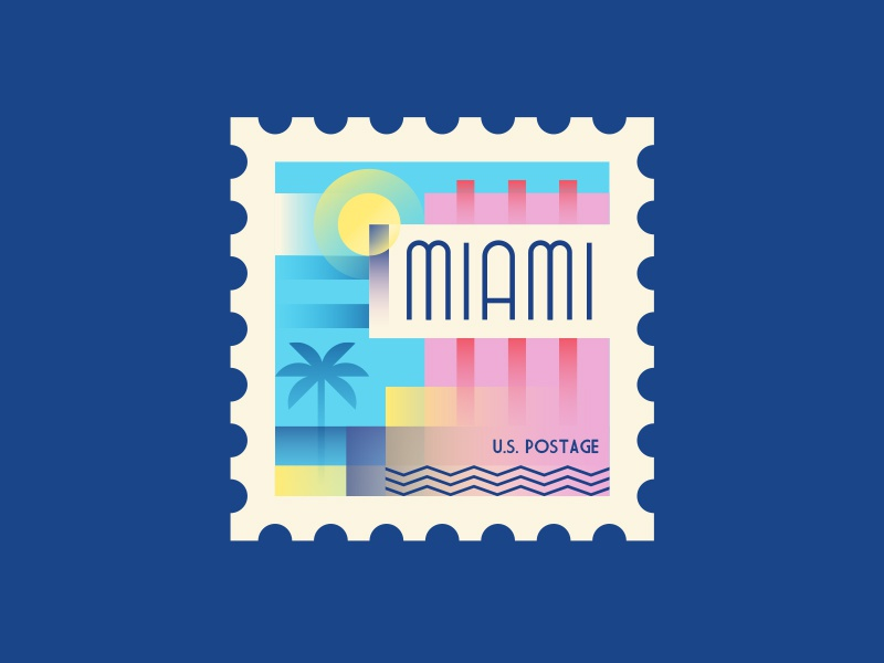 Miami vector townsquares america usa spot illustration postage miami stamp illustration