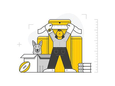 PODit - Choose a Size editorial design app spot illustration geometric character line illustration vector
