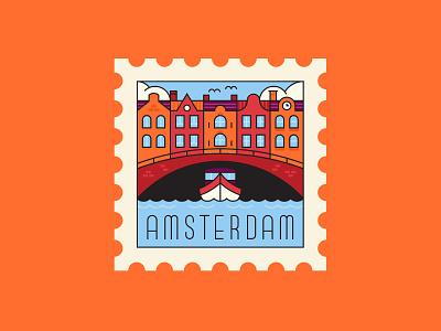 Amsterdam stamp postage stamp ephemera line illustration vector