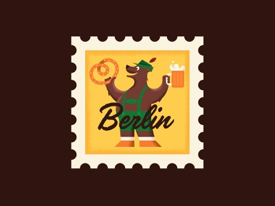 Berlin fun colorful bold vintage retro postage stamp berlin character illustration vector