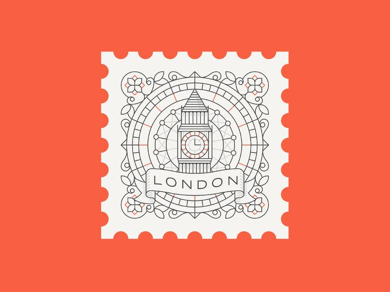 London retro vintage victorian big ben london postage stamp line art geometric illustration vector