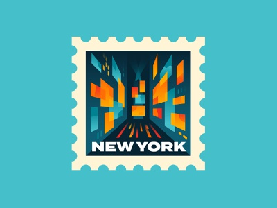 New York times square new york bold midcentury modern retro postage stamp spot illustration illustration vector
