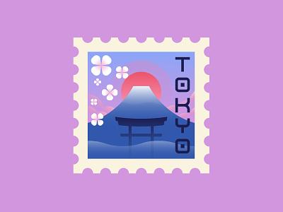 Tokyo spot illustration minimalist bold vintage retro tokyo postage stamp geometric illustration vector