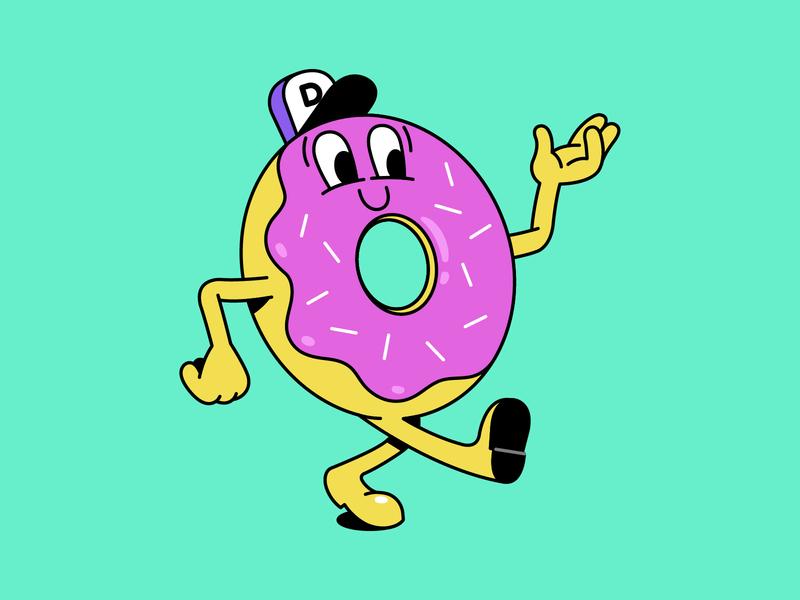 FF023: Donut Day donut trendy fun bold character design mascot logo mascot character illustration vector