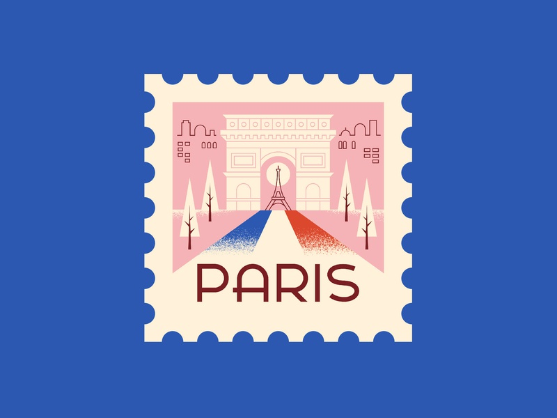Paris paris line illustration spot illustration ephemera postage stamp vintage retro illustration vector