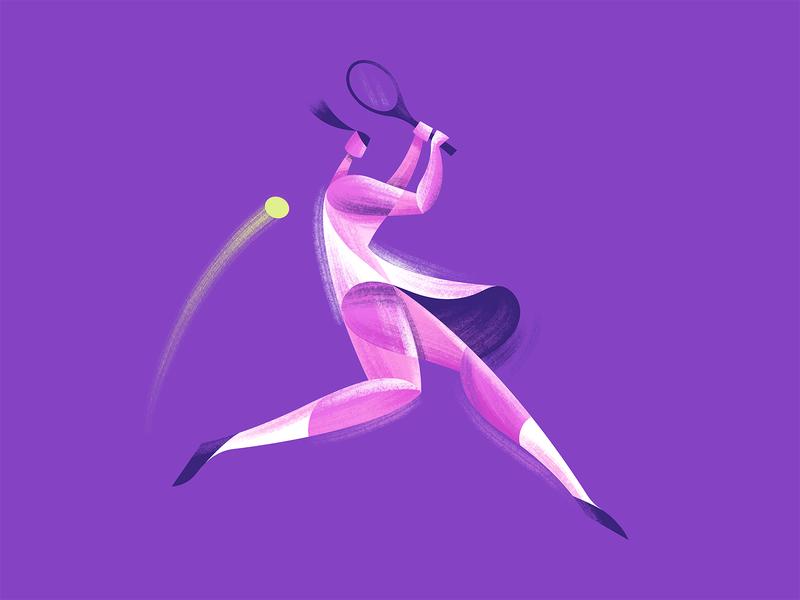 Wimbledon tennis editorial spot illustration geometric character illustration vector