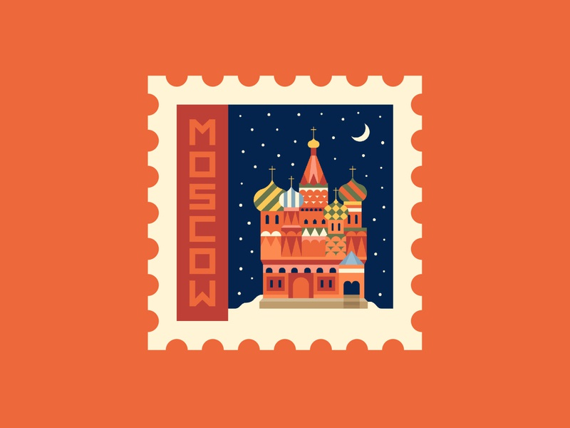 Moscow graphic abstract bold spot illustration russia postage stamp illustration vector
