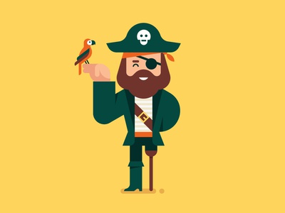 Talk like a Pirate magazine editorial spot illustration geometric illustration vector character pirate