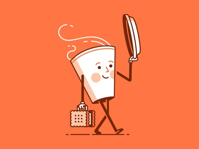 International Coffee Day mister biscuit coffee editorial spot illustration line character illustration vector